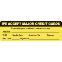 "Billing Collection Labels, WE ACCEPT MAJOR CREDIT CARDS - Fl Chartreuse, 3"" X 1"" (Roll of 250)"