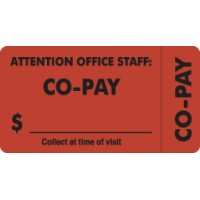 "Insurance Labels, CO-PAY - Fl Red (Wrap-Around), 3-1/4"" X 1-3/4"" (Roll of 250)"