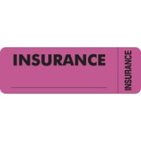 "Insurance Labels, INSURANCE - Fl Pink (Wrap-around), 3"" X 1"" (Roll of 250)"