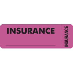 Insurance Labels, INSURANCE - Fl Pink (Wrap-around), 3&#34 X 1&#34 (Roll of 250)