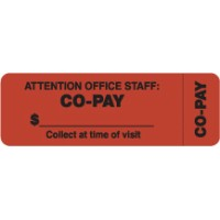 "Insurance Labels, CO-PAY - Fl Red (Wrap-around), 3"" X 1"" (Roll of 250)"
