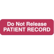 "S-8018 - HIPAA Labels, Do Not Release - Red, 2-1/2"" X 3/4"" (Roll of 300)"