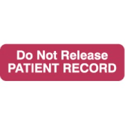 "HIPAA Labels, Do Not Release - Red, 2-1/2"" X 3/4"" (Roll of 300)"