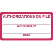 "S-8016 - HIPAA Labels, Authorizations on File - Red/White, 3-1/4"" X 1-1/4"" (Roll of 250)"