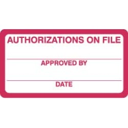 "HIPAA Labels, Authorizations on File - Red/White, 3-1/4"" X 1-1/4"" (Roll of 250)"