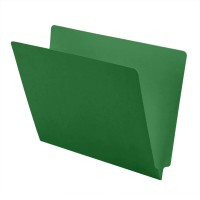 11 pt Color Folders, Full Cut 2-Ply End Tab, Letter Size, Green (Box of 100)