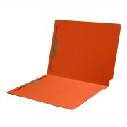 S-1502-ORG - 11 pt Color Folders, Full Cut 2-Ply End Tab, Letter Size, Fasteners Pos #1 & #3, Orange (Box of 50)