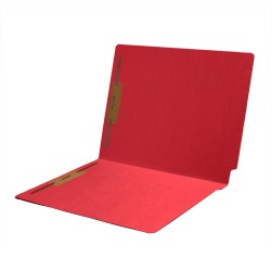 11 pt Color Folders, Full Cut 2-Ply End Tab, Letter Size, Fasteners Pos #1 & #3, Red (Box of 50)