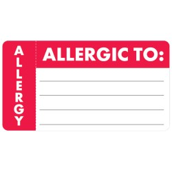 "Allergy Warning Labels, ALLERGIC TO: - Red/White (Wrap Around), 3-1/4"" X 1-3/4"" (Roll of 250)"
