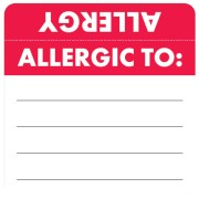 S-3330 - Allergy Warning Labels, ALLERGIC TO: - Red/White (Wrap Around) 2