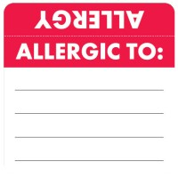 "Allergy Warning Labels, ALLERGIC TO: - Red/White (Wrap Around) 2"" X 2"" (Roll of 250)"