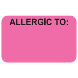"Allergy Warning Labels, ALLERGIC TO: - Fl Pink, 1-1/2"" X 7/8"" (Roll of 250)"