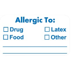 "Allergy Warning Labels, ALLERGIC TO: - White, 1-1/2"" X 7/8"" (Roll of 250)"