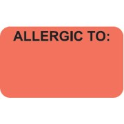 S-3390 - Allergy Warning Labels, ALLERGIC TO: - Fl Red, 1-1/2