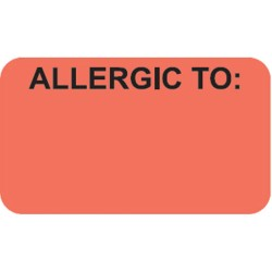 "Allergy Warning Labels, ALLERGIC TO: - Fl Red, 1-1/2"" X 7/8"" (Roll of 250)"