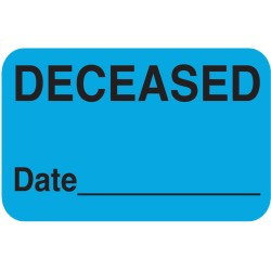 "Chart Labels, DECEASED - Lt. Blue, 1-1/2"" X 7/8"" (Roll of 250)"