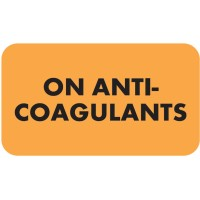"Chart Labels, ON ANTICOAGULANTS - Fl Orange, 1-1/2"" X 7/8"" (Roll of 250)"
