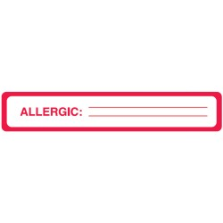 "Allergy Warning Labels, ALLERGIC: - Red/White, 5-1/2"" X 1"" (Roll of 175)"