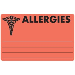 "Allergy Warning Labels, ALLERGIC - Fl Red, 4"" X 2-1/2"" (Roll of 100)"