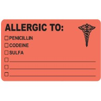 "Allergy Warning Labels, ALLERGIC TO: - Fl Red, 4"" X 2-1/2"" (Roll of 100)"