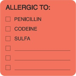"Allergy Warning Labels, ALLERGIC TO: - Fl Red 2"" X 2"" (Roll of 250)"