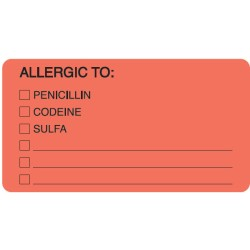 "Allergy Warning Labels, ALLERGIC TO: - Fl Red, 3-1/4"" X 1-3/4"" (Roll of 250)"