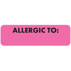 "Allergy Warning Labels, ALLERGIC TO: - Pink, 2 1/2"" X 3/4"" (Roll of 300)"