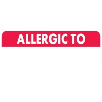 "Allergy Warning Labels, ALLERGIC TO - Red/White, 2 1/2"" X 3/4"" (Roll of 300)"