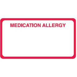"Allergy Warning Labels, MEDICATION ALLERGY - Red/White, 3-1/4"" X 1-3/4"" (Roll of 250)"