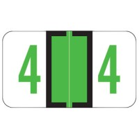 "Jeter 6100 Compatible Numeric Labels, Number ""4"", Laminated Stock, 15/16"" X 1-5/8"" Ind..."