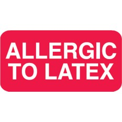 "Allergy Warning Labels, ALLERGIC TO LATEX - Red, 1-1/2"" X 7/8"" (Roll of 250)"