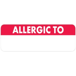"Allergy Warning Labels, ""Write your own message"" - Red/White, 2 1/2"" X 3/4"" (Roll of 300)"