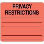 S-711 - HIPAA Labels, Privacy Restrictions - Red, 2-1/2