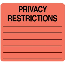 "HIPAA Labels, Privacy Restrictions - Red, 2-1/2"" X 2-1/2"" (Roll of 390)"