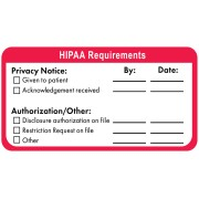 S-7130 - HIPAA Labels, HIPAA Requirements - Red/White, 4