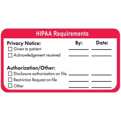 "HIPAA Labels, HIPAA Requirements - Red/White, 4"" X 2"" (Roll of 250)"