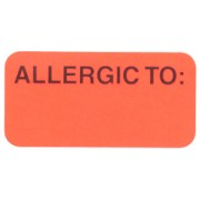 S-8030 - Reminder Labels, ALLERGIC TO: - Fl Red, 1-1/2