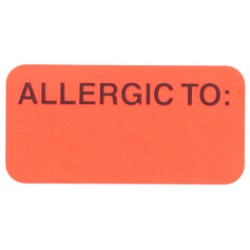 "Reminder Labels, ALLERGIC TO: - Fl Red, 1-1/2"" X 3/4"" (Roll of 250)"