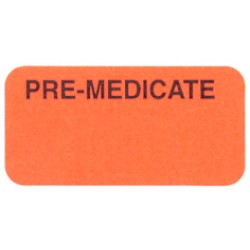 "Reminder Labels, PRE-MEDICATED - Fl Red, 1-1/2"" X 3/4"" (Roll of 250)"