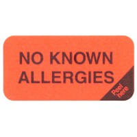 "Reminder Labels, NO KNOWN ALLERGIES - Fl Red (Removable), 1-1/2"" X 3/4"" (Roll of 250)"