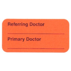 "Reminder Labels, REFERRING DOCTOR: - Fl Red, 1-1/2"" X 3/4"" (Roll of 250)"