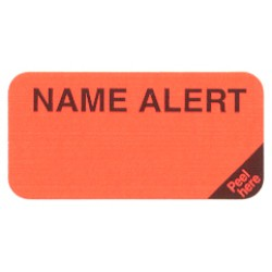 "Reminder Labels, NAME ALERT - Fl Red (Removable), 1-1/2"" X 3/4"" (Roll of 250)"