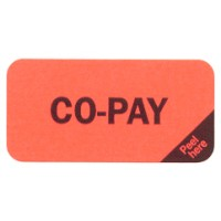 "Reminder Labels, CO-PAY: - Fl Red (Removable), 1-1/2"" X 3/4"" (Roll of 250)"