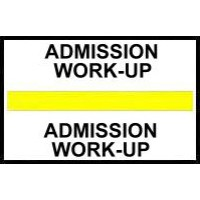 Stick On Index Tabs, ADMMISSION WORK-UP (Yellow)