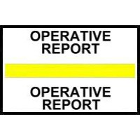 Stick On Index Tabs, OPERATIVE REPORT (Yellow)