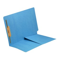 11 pt Blue Folders, Full Cut End Tab, Letter Size, 1/2 Pocket Inside Front, Fastener Pos #1 (Box of 50)