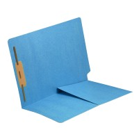 Blue Fastener Folder with Half Pocket
