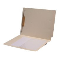 11 pt Manila Folders, Full Cut End Tab, Letter Size, 1/2 Poly Pocket, Fastener Pos #1 (Box o...