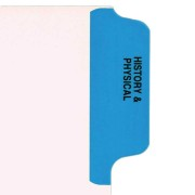 S-9210-6T-1 - Individual Stock Chart Divider Tabs, History & Physical, Blue, Side Tab, 1/6th Cut, Pos. #1 (Pack of 25)