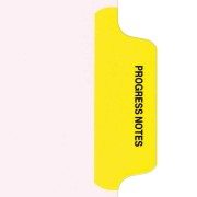 S-9210-6T-2 - Individual Stock Chart Divider Tabs, Progress Notes, Yellow, Side Tab, 1/6th Cut, Pos. #2 (Pack of 25)